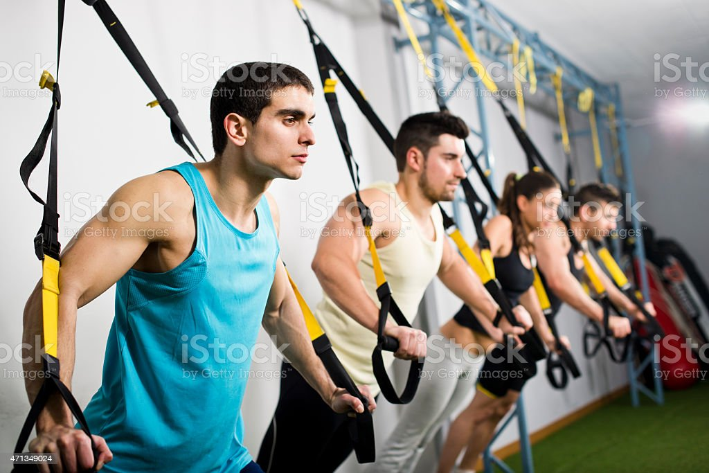 People traiing in elastic rope stock photo