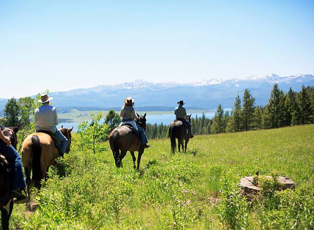 People Trail Riding On Horseback stock photo