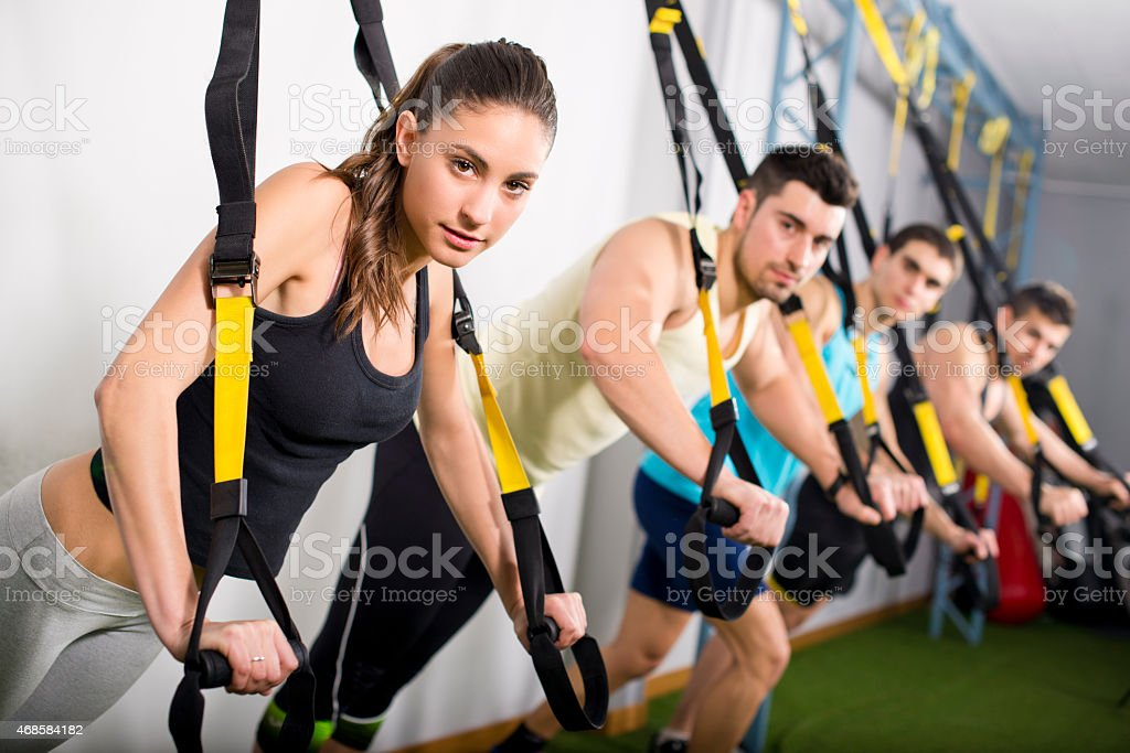 People training at gym stock photo