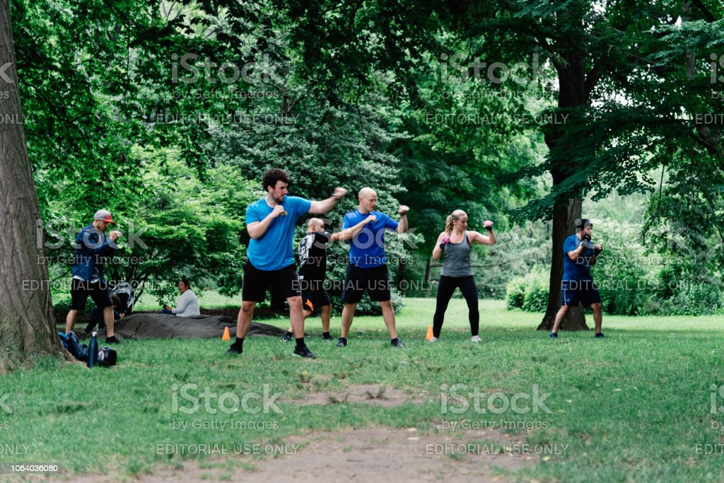 People training self defense in Central Park a cloudy day