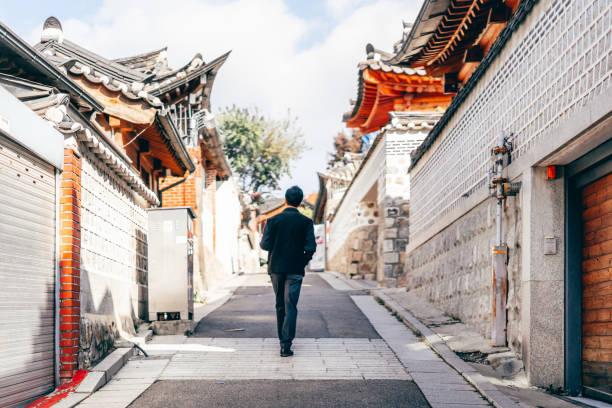People travel and visit at Bukchon Hanok Village in Seoul, South Korea. stock photo