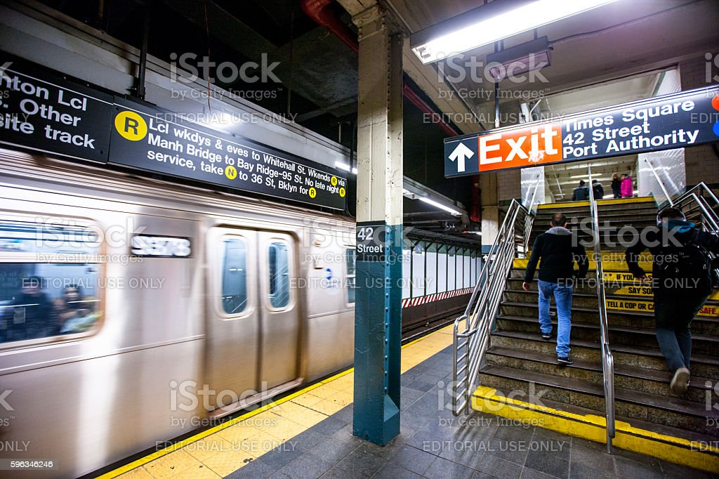 People traveling in New York subway, USA royalty-free stock photo