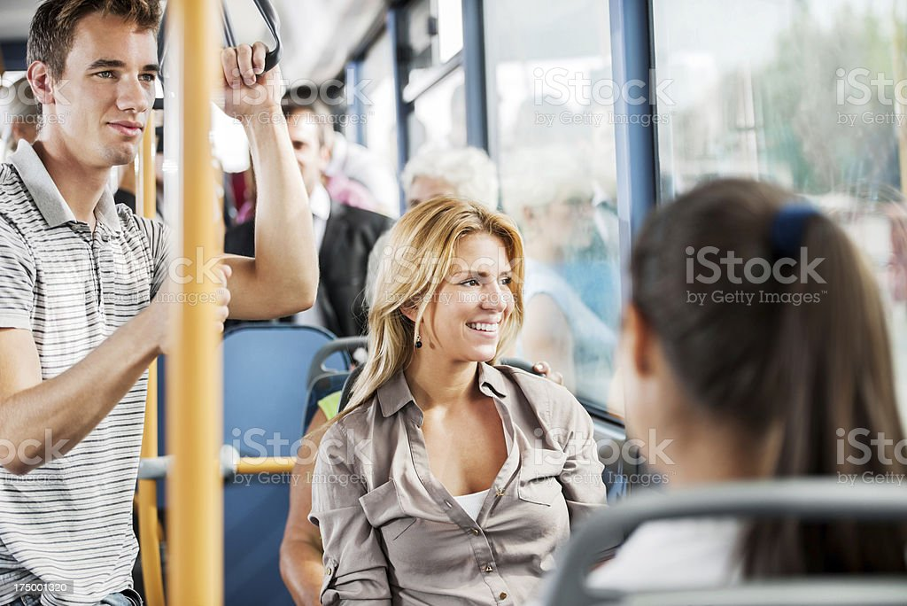 People travelling by bus stock photo