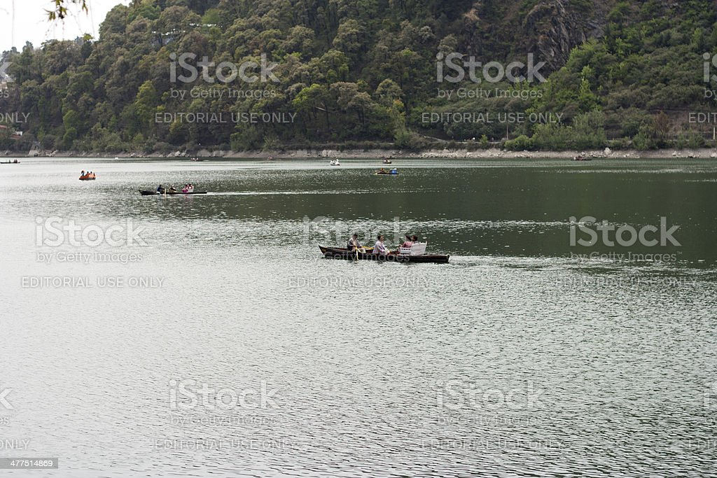 People Travelling in Water Using Boat royalty-free stock photo