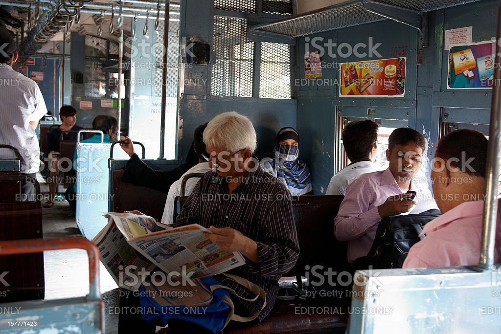 People travelling on local Mumbai train royalty-free stock photo