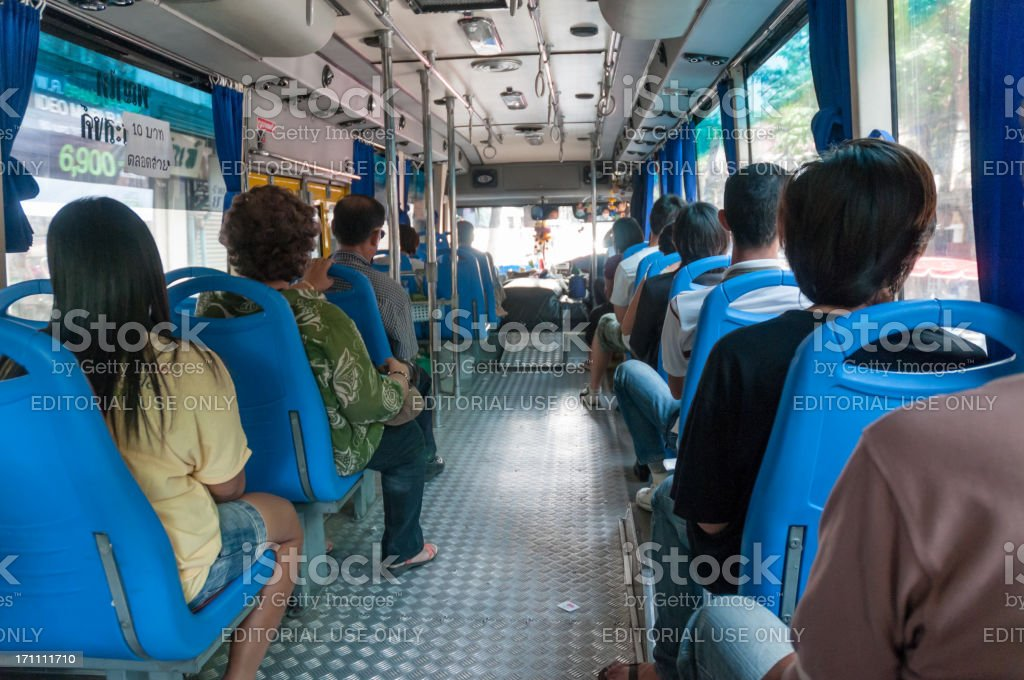 People Travelling On The Bus In Bangkok, Thailand royalty-free stock photo