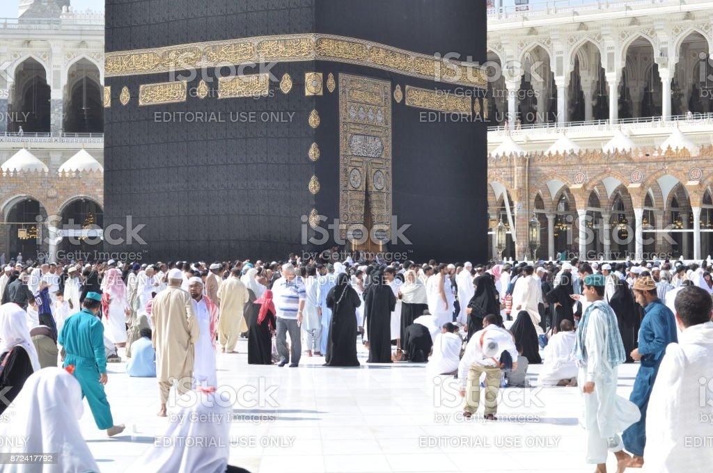 People turning around of Kaaba in Mecca, Saudi Arabia. February 14, 2012 stock photo