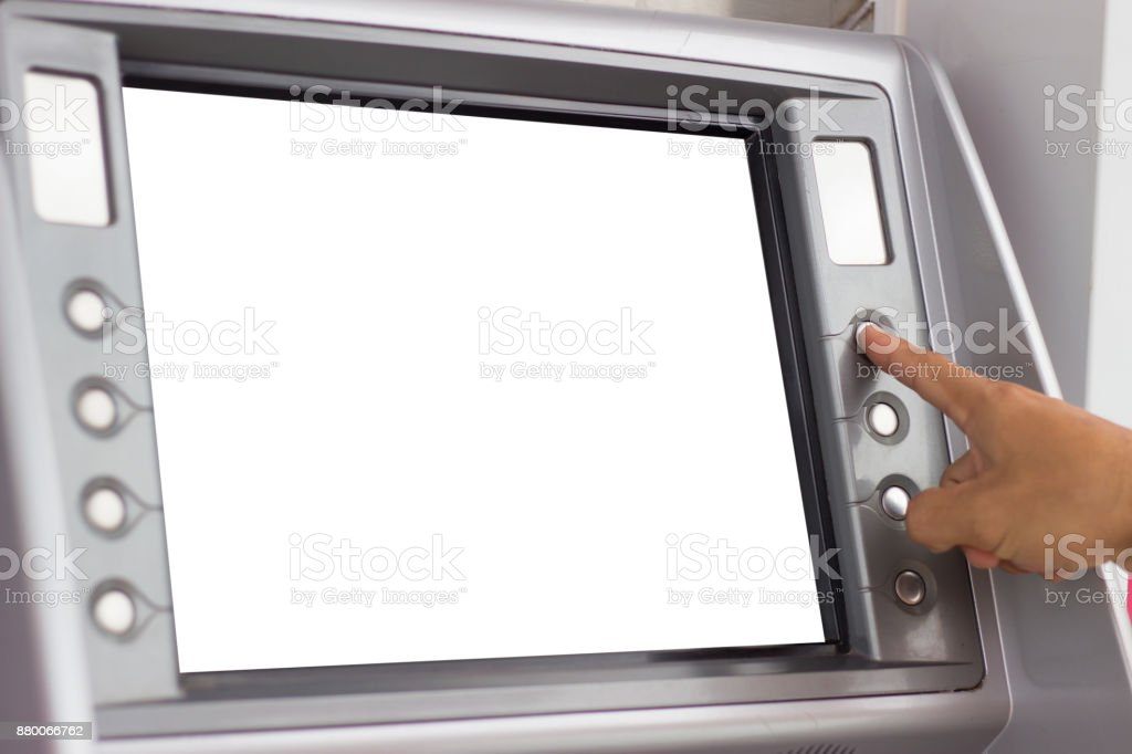 people using ATM stock photo