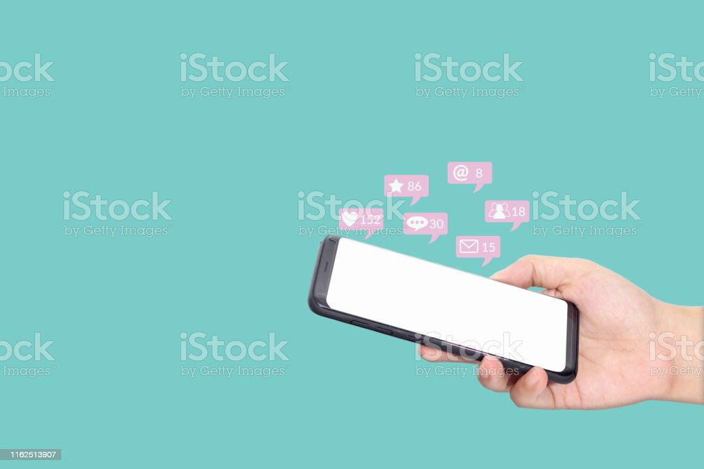 people using mobile smartphone with blank white screen for social...