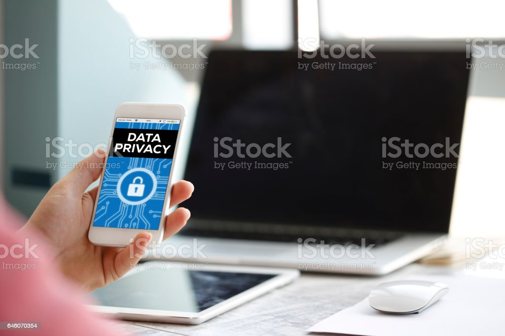 People Using Smartphone and Data Privacy Concept on Screen stock photo