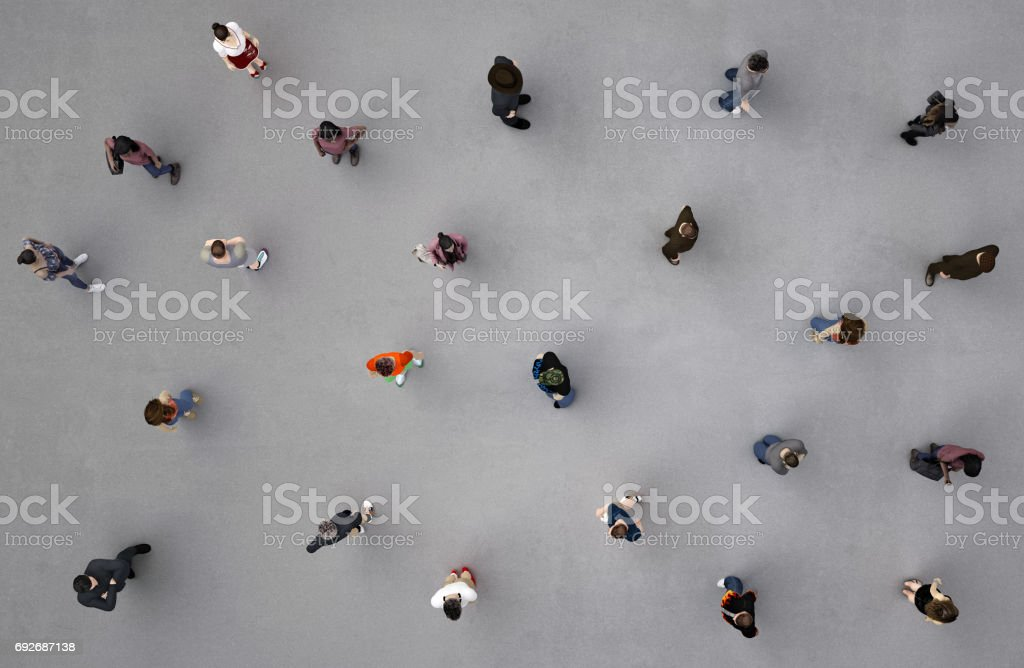 people viewed from above stock photo