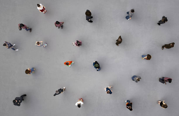 people viewed from above people viewed from above; 3d render citizenship stock pictures, royalty-free photos & images