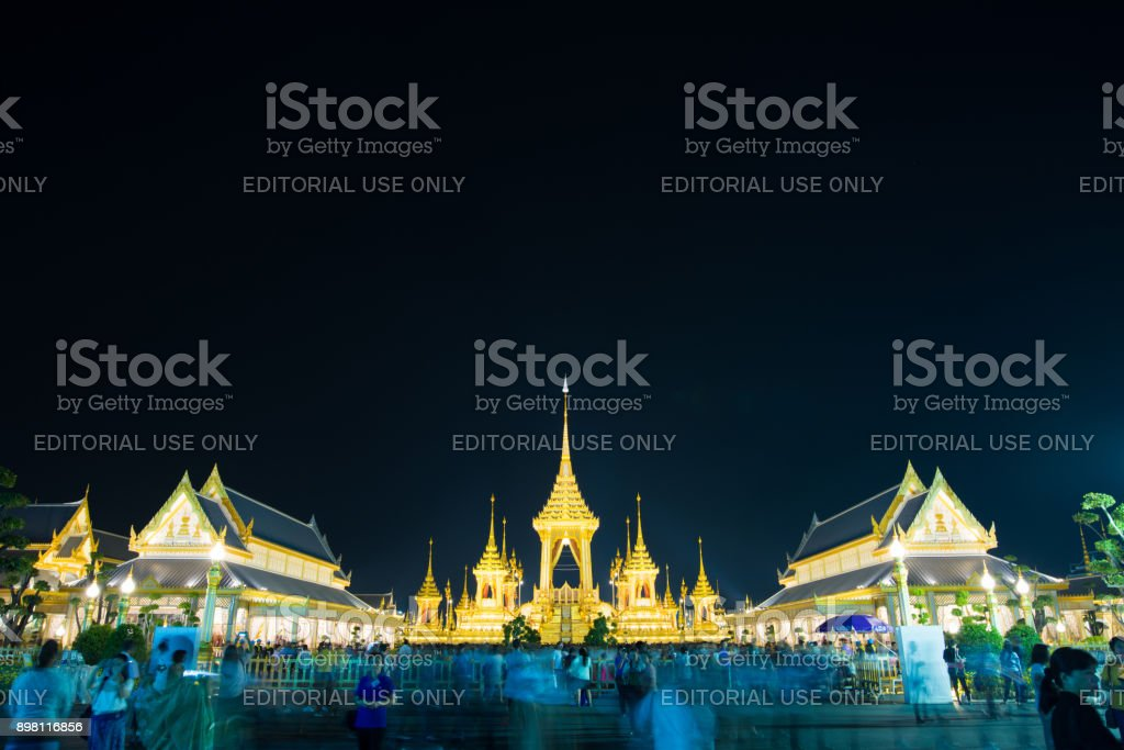 People visit and pray the Royal Crematorium, Royal Crematorium in Thailand of the king Bhumibol Adulyadej, Rama9 stock photo