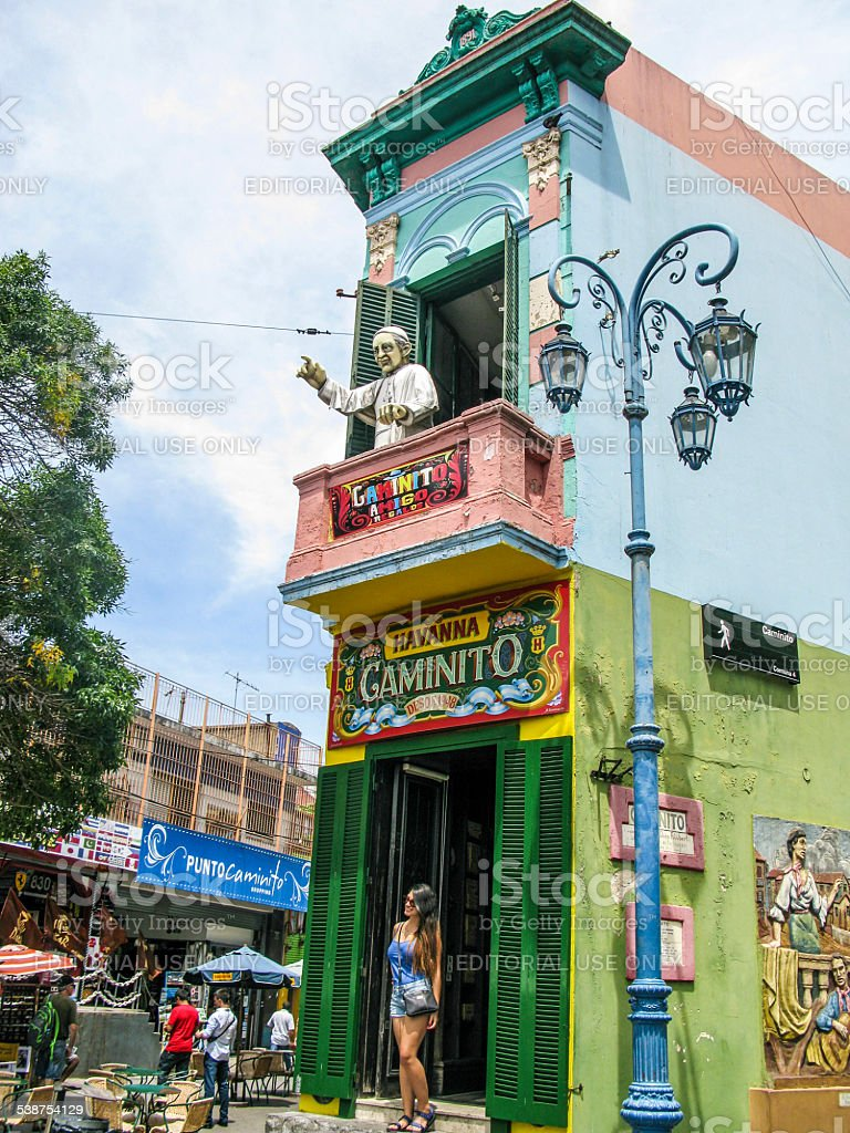 people visit Caminito Street in La Boca stock photo