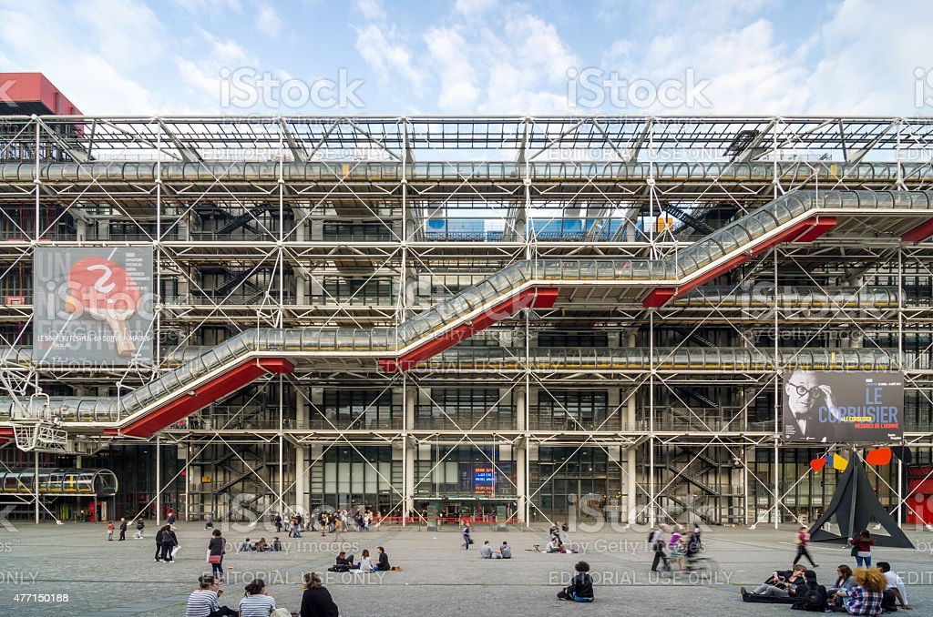People visit Centre of Georges Pompidou in Paris stock photo