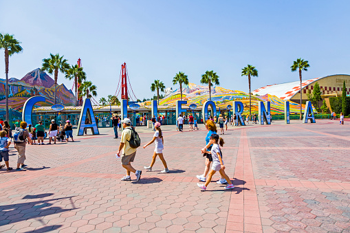 Anaheim, USA - July 29, 2008: people visit disneyland and walk over commemorative bricks with names in terracotta in Anaheim, USA. The bricks with individual names were sold for 150 USD a piece.