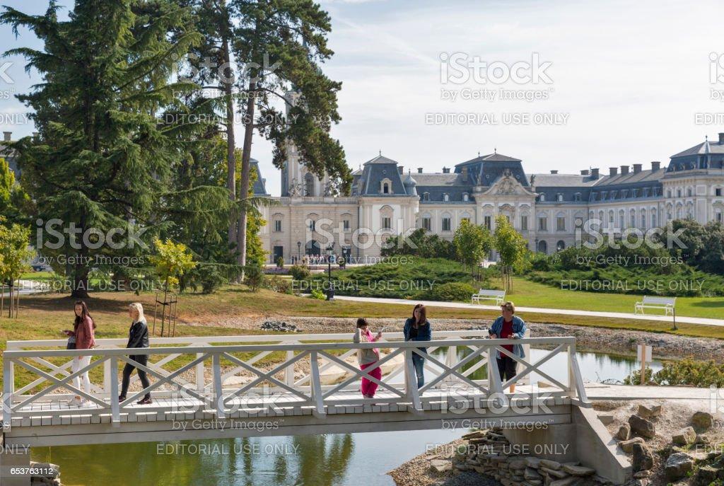 People visit Festetics Palace garden in Keszthely, Hungary. stock photo
