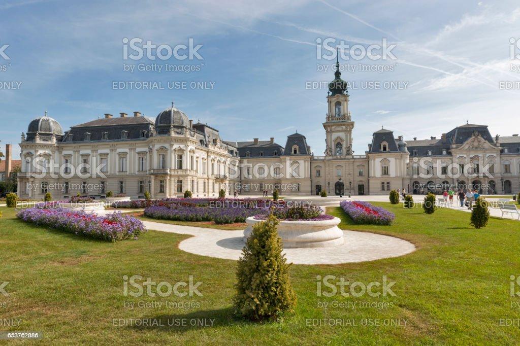 People visit Festetics Palace in Keszthely, Hungary. stock photo
