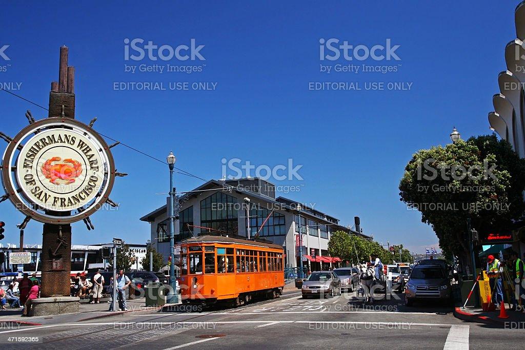 people visit Fishermans Wharf in San Francisco stock photo
