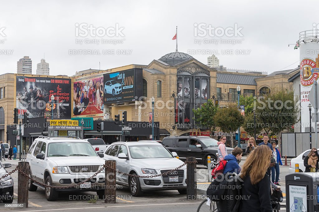 people visit Fishermans Wharf in San Francisco royalty-free stock photo