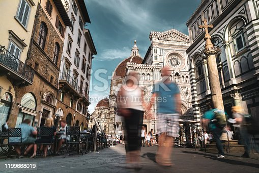 People visit Florence, Italy - Santa Maria del Fiore Cathedral