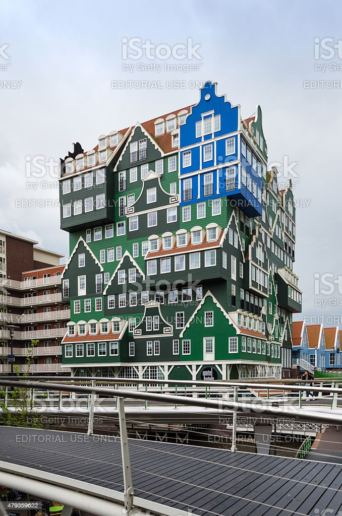 People visit Inntel Hotels in Zaandam, Netherlands. stock photo