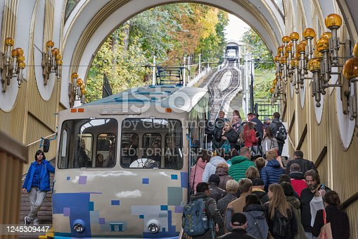 KYIV, UKRAINE - OCTOBER 05, 2019: People visit Kyiv funicular station. The funicular transports passengers from the Dnieper River area to the top of the hill with St. Michel's Monastery.