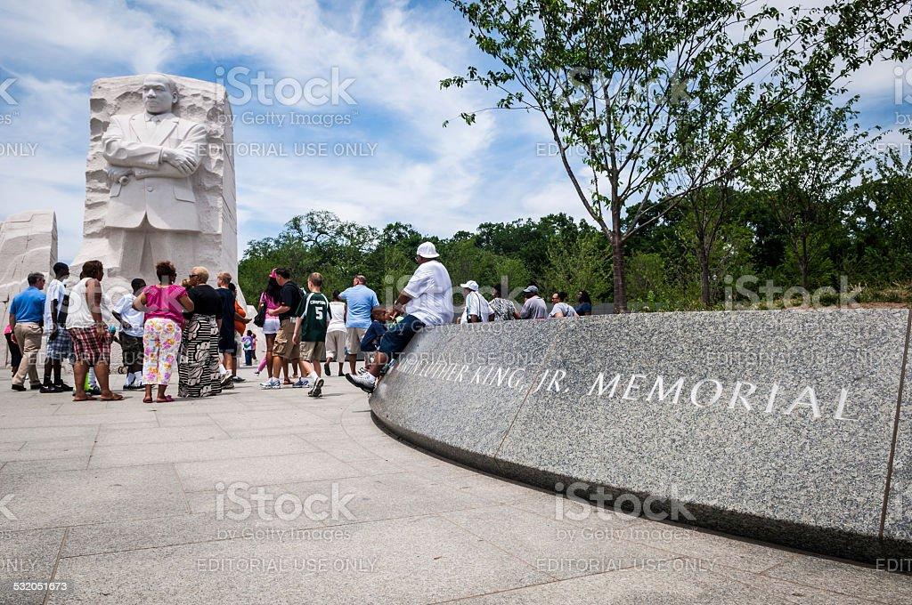 People visit Martin Luther King Jr Memorial in Washington DC stock photo