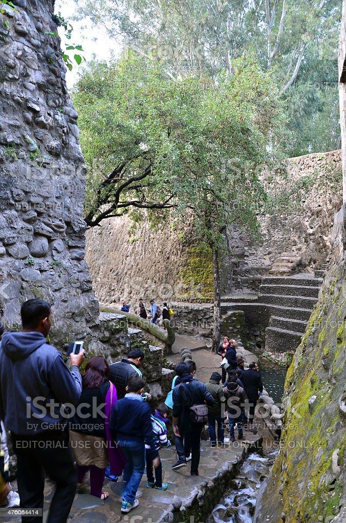 People visit Rock garden in Chandigarh, India. stock photo