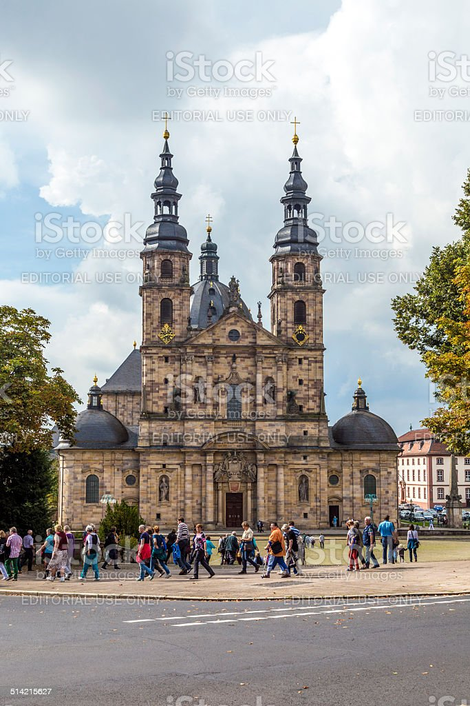 people visit the Cathedral in Fulda stock photo