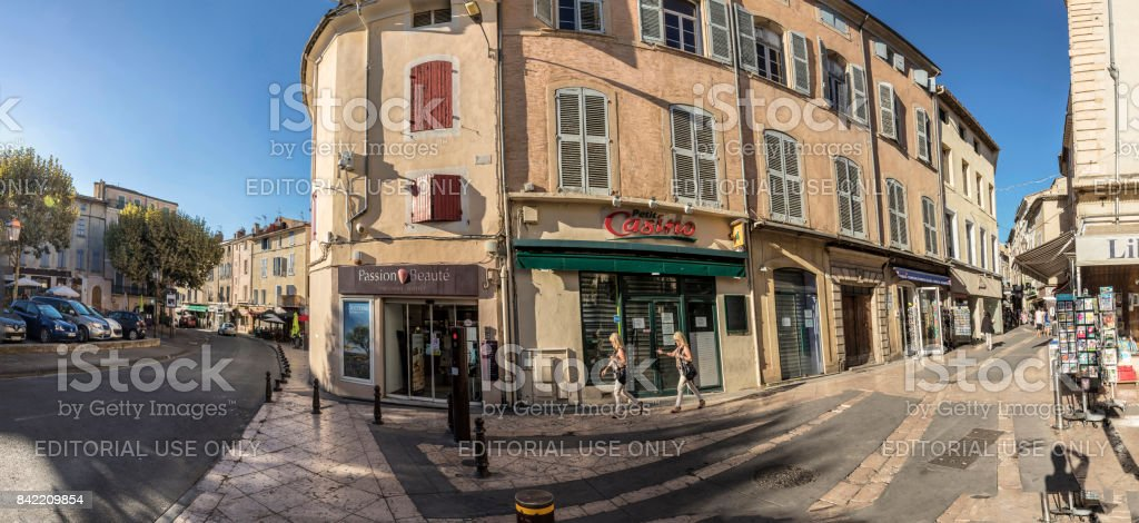 people visit the historic village of Apt in the provence stock photo