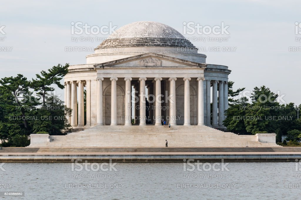 People Visit the Jefferson Memorial in Washington, DC stock photo