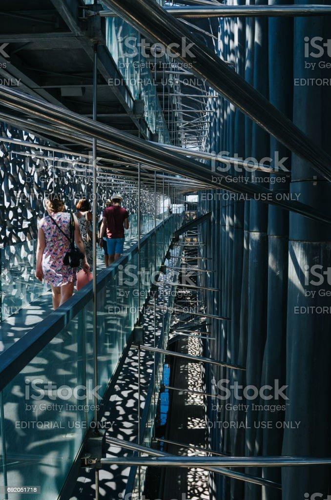 MARSEILLES, FRANCE - JUNE 22, 2016: People visit the modern Museum of European and Mediterranean Civilizations (MuCEM). stock photo
