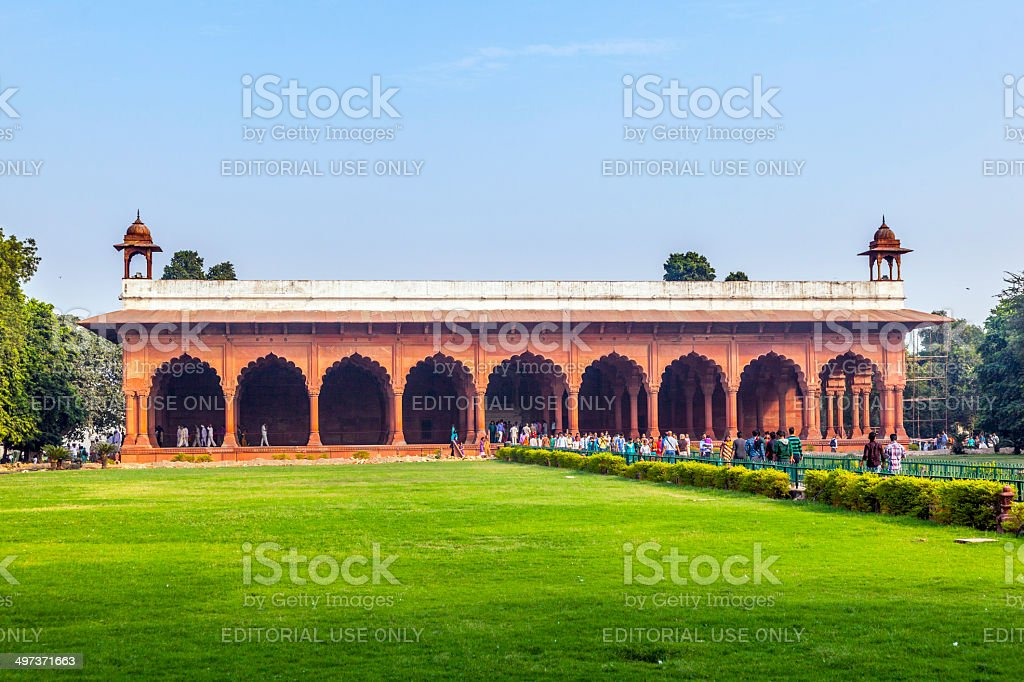 people visit the Red Fort in Delhi, India. stock photo