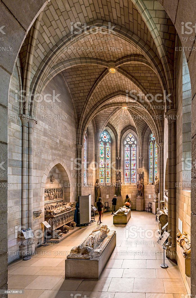 people visit the Sanctuary at the Cloisters stock photo