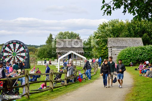 Omagh, County Tyrone, Northern Ireland, Sep., 2017. People visit Ulster American Folk Park in Northern Ireland.