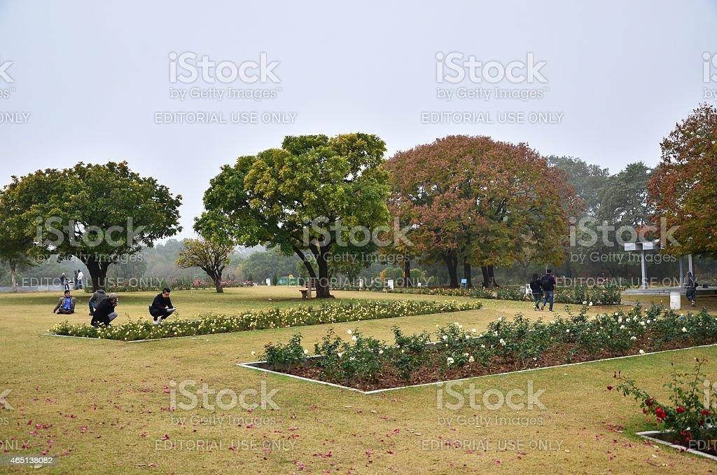 People visit Zakir Hussain Rose Garden in Chandigarh, India. stock photo
