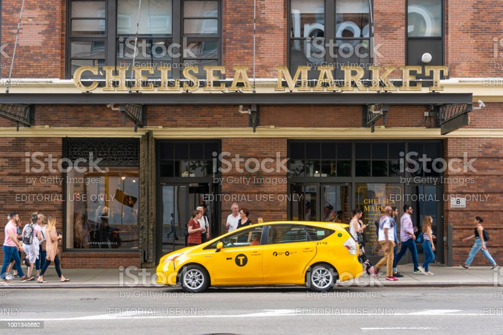 People visiting Chelsea Market in New York City stock photo