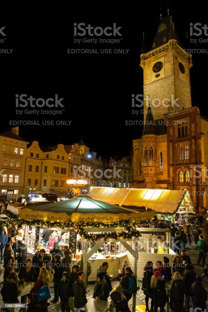 Prague, Czech Republic - Desember 5, 2018: People visiting Christmas...
