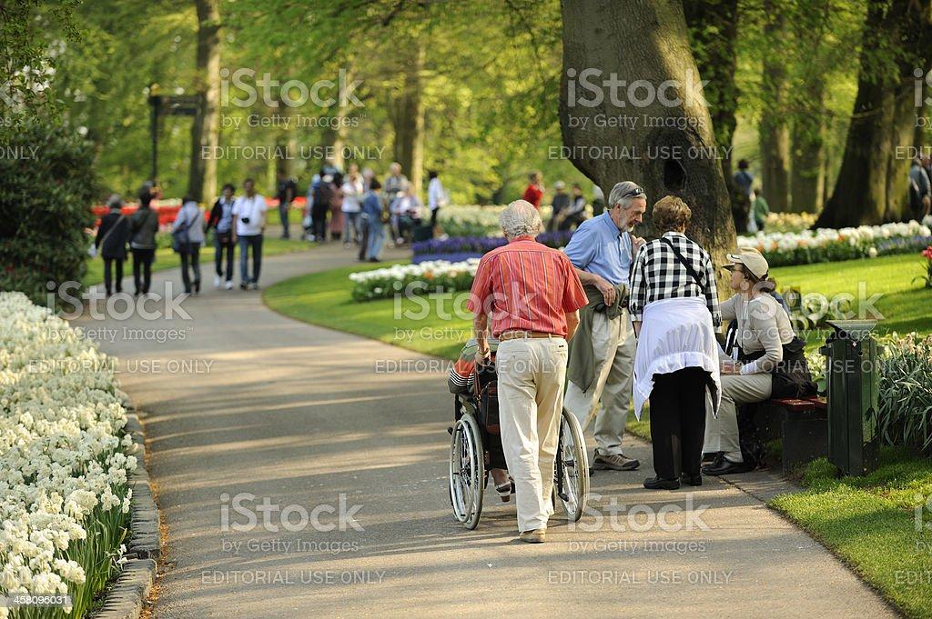 People visiting flower park Keukenhof in the Netherlands royalty-free stock photo