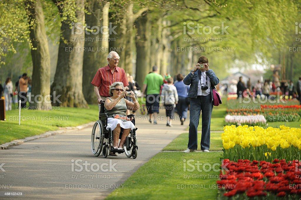People visiting flower park Keukenhof in the Netherlands stock photo
