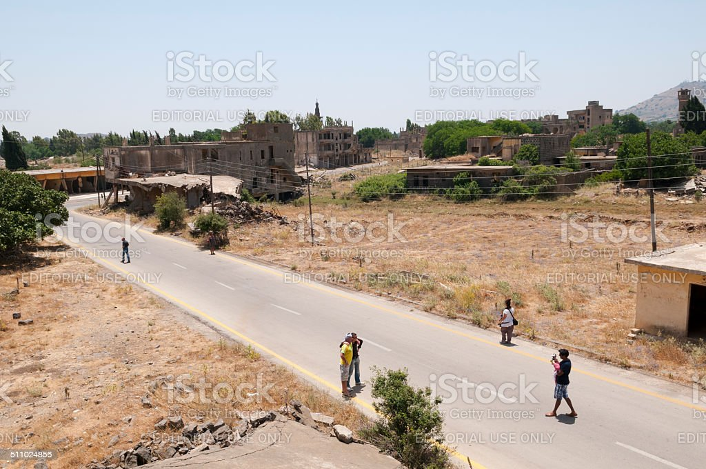 People visiting Quneitra, Syria stock photo