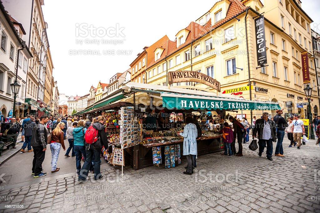 People visiting street market in Prague Prague, Czech Republic - May 3, 2015: People visiting street market in Prague 2015 Stock Photo