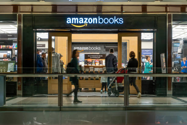 People visiting the Amazon Books store stock photo
