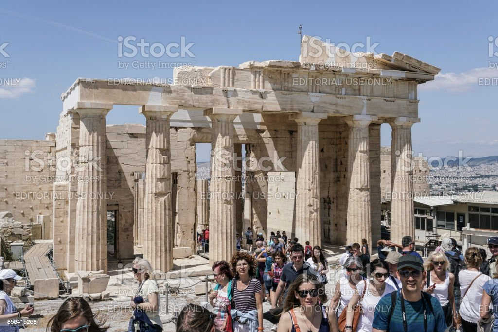 People visiting The Athenian Acropolis, in Athens, Greece. stock photo