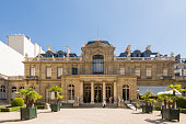 People visiting the backyard of the Jacquemart-André Museum at Paris city, France.