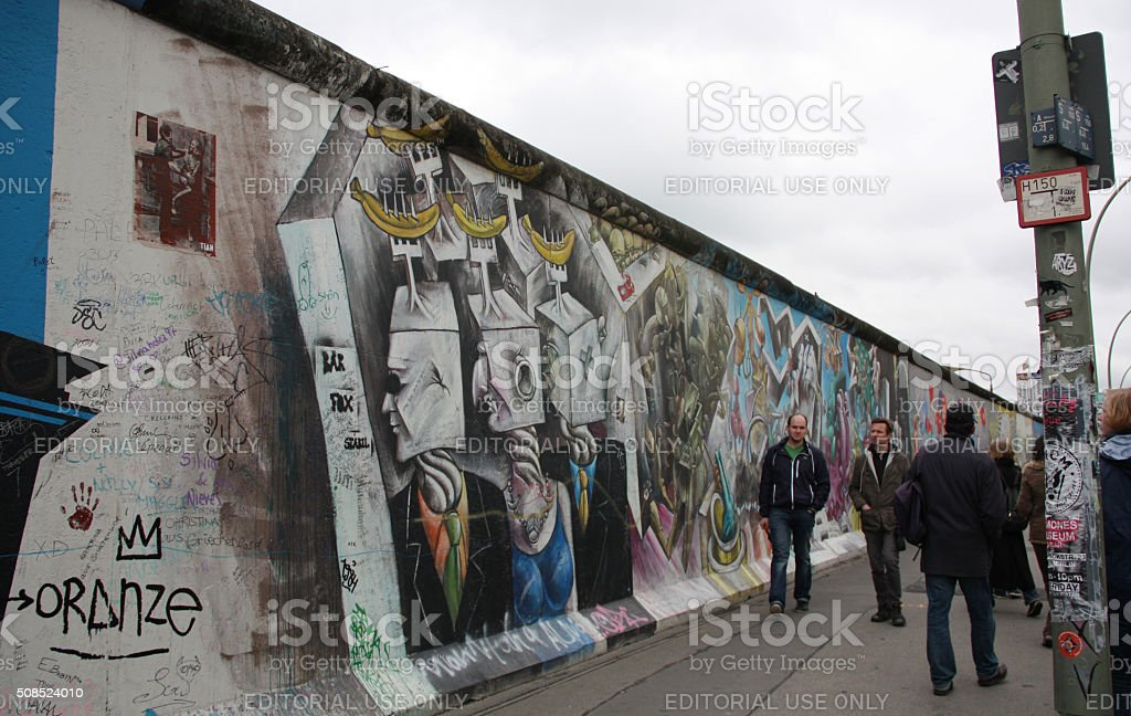 People Visiting the Berlin Wall, East Side Gallery stock photo