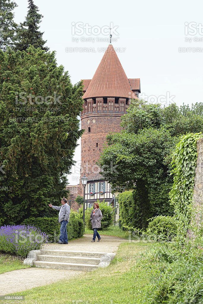 People visiting town wall of Tangermünde (Germany) royalty-free stock photo