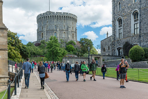 People visiting Windsor Castle, country house queen of England