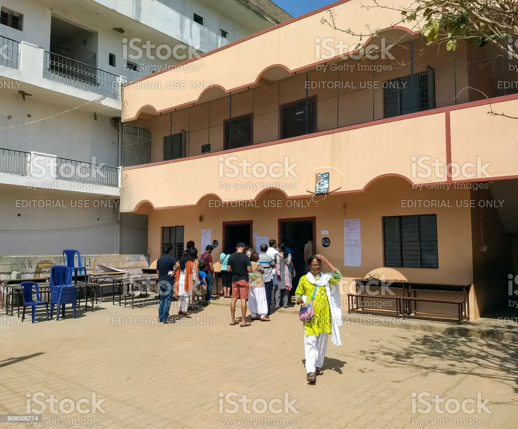 People voting in Karnataka state elections, India stock photo